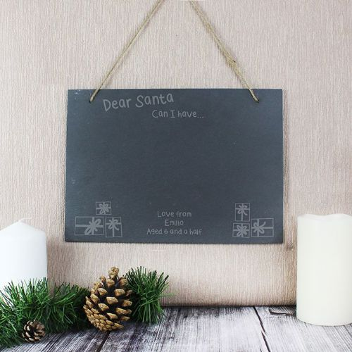 Personalised Christmas Wish List Hanging Slate Sign